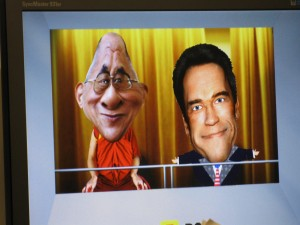 Vincent Eaton as the Dalai Lama cartoon + Arnie cartoon