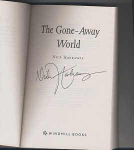 "Nick Harkaway signiture of ""The Gone-Away World"""