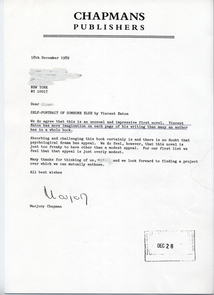 Publisher'S Rejection Letters « Vincent Eaton Storyteller